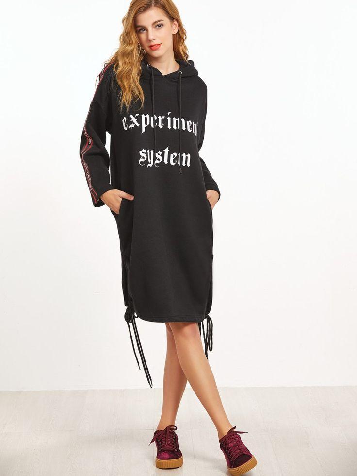 Black Hooded Letter Print Slit Side Drawstring Sweatshirt Dress