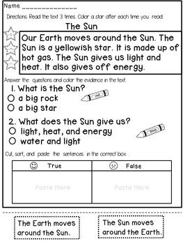 First Grade Reading Comprehension Passages *Hands On * - This  product contains 15 reading  passages that target both COMPREHENSION and FLUENCY and have a HANDS ON component.All passages are related to SCIENCE and designed for 1st or 2nd grade.Due to challenging vocabulary and concepts all passages are reduced to 4-5 sentences, but the students are required to read each passage 3 times.Titles included:1.The Sun2.The Moon3.The Stars4.Apples5.Leaves6.Living and Nonliving…