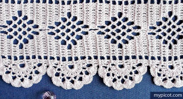 Dainty lace edging, free pattern from MyPicot. Diamond portion would make pretty curtains. . . . . ღTrish W ~ http://www.pinterest.com/trishw/ . . . . #crochet