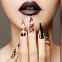 Black lace nail art for long nails