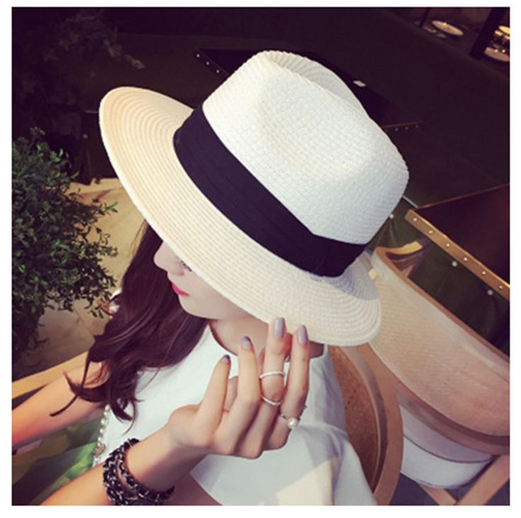 US $7.31 -- Fashion Men Women Unisex Sun Straw Hat Contrast Color Chapeu Feminino Crown Rolled Trim Beach Hat Summer Hats for Women A0447 aliexpress.com
