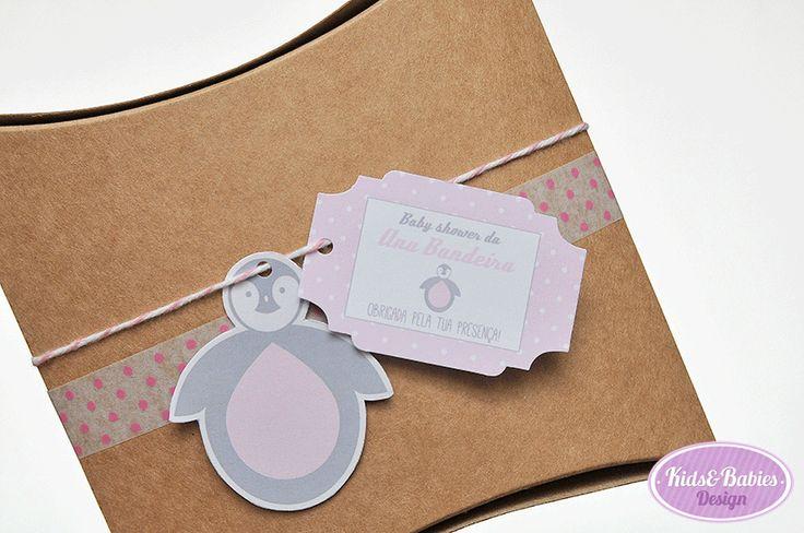 "Kids&Babies: Party Printables :: Baby Shower Pinguim - etiqueta de agradecimento e ""topper"" formato pinguim multiusos"