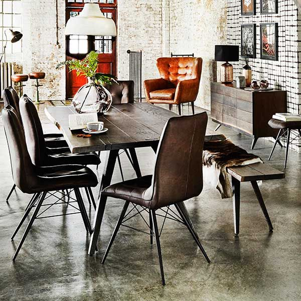 Vega Dining Table And 6 Hix Chairs Vintage Brown