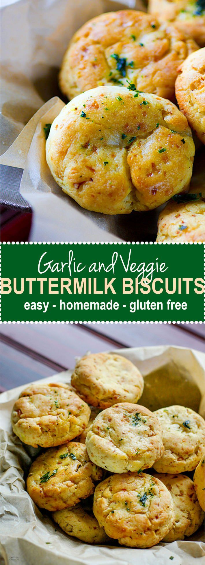 Easy Homemade Gluten Free Buttermilk Biscuits! These gluten free buttermilk biscuits are so delicious, healthy, and packed with extra veggies for great texture and taste. A great way to sneak in more vegetables to your diet without even knowing. Simple to make, ready in 30 minutes, and a total crowd pleaser for both gluten free and non gluten free eaters! Egg free. Yeast free