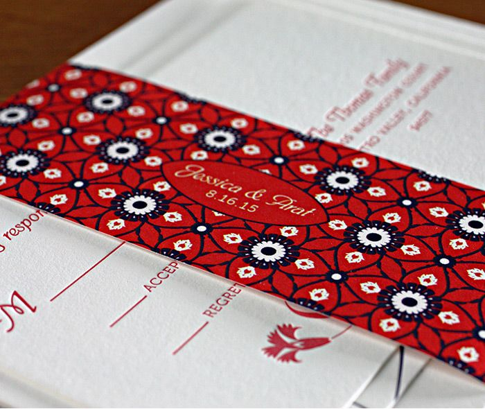 Vibrant red and blue Turkish tulip wedding invitation set with monogrammed belly band with a mosaic floral pattern.  | Invitations by Ajalon | invitationsbyajalon.com