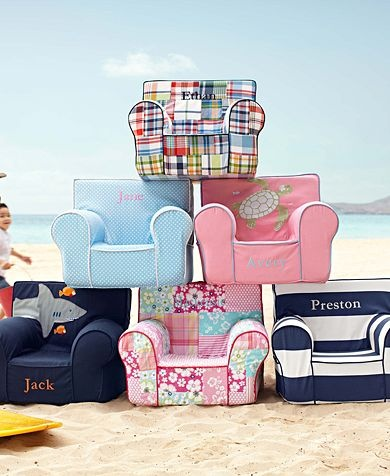 Little Chair for the small ones in our lives from Pottery Barn Kids. Comes in a variety of styles. Get one to match your decor, you don't have to settle for disney or other commercial  themed ones that don't match anything. And you can get it personalized with his name. sweet!