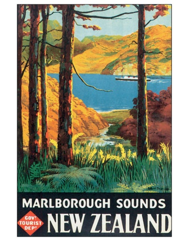 NEW ZEALAND, Marlborough Sounds, vintage travel poster  {note}