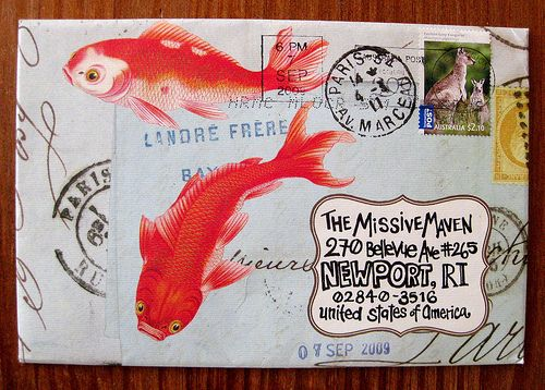 I love this fish mail art because it has a variety of colours. Orange on fish bring the colours out.