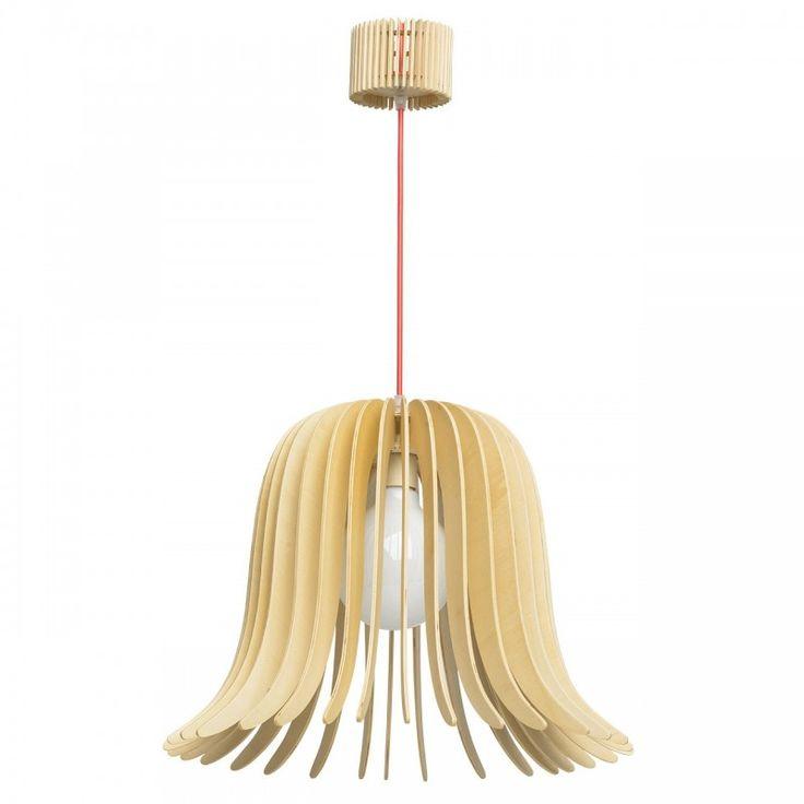 Lustre RegenBogen en lamelles de bois clair d'inspiration scandinave