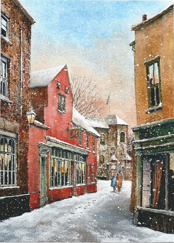 """Museum Street, Colchester. 125 x 175mm. £4.50.  All cards come in packs of 10.  Greeting in cards: """"With Best Wishes for Christmas and the New Year."""""""