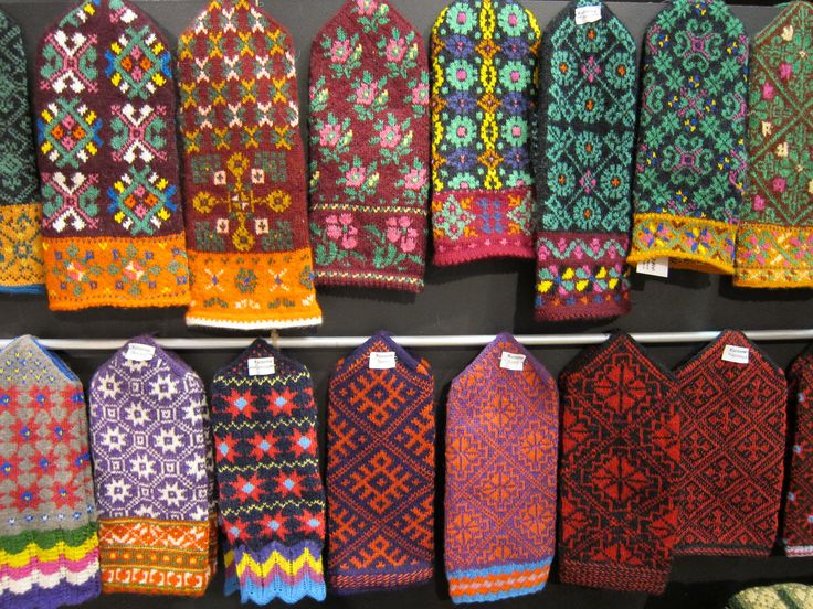 Knitted mittens display from Latvia