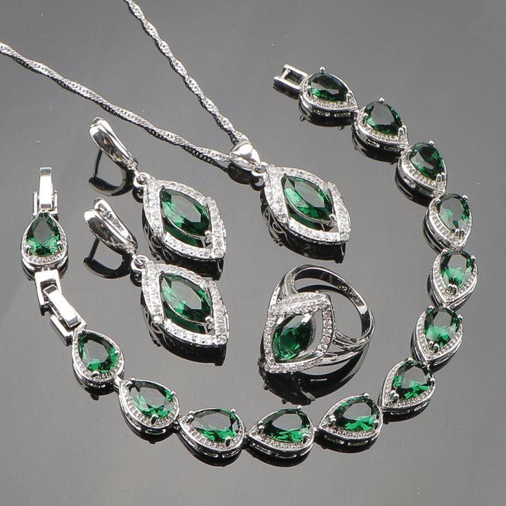 Green Garnet White Created Topaz 925 Sterling Silver Jewelry Sets Bracelets/Earrings/Pendant/Necklace/Rings For Women Free Box