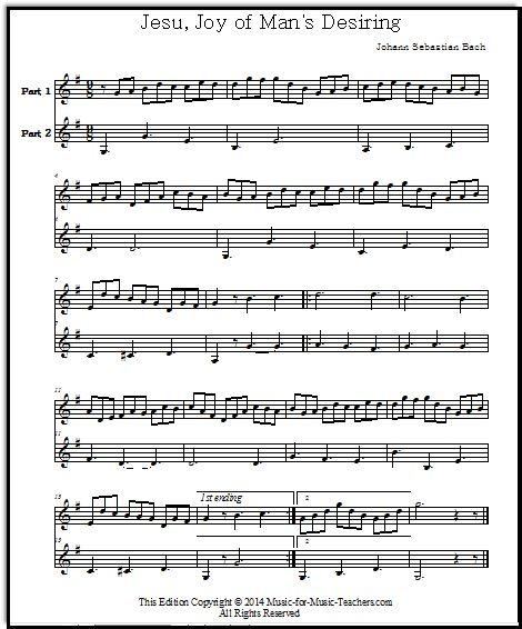 Jesu, Joy Of Man's Desiring For Violin Or Instrumental