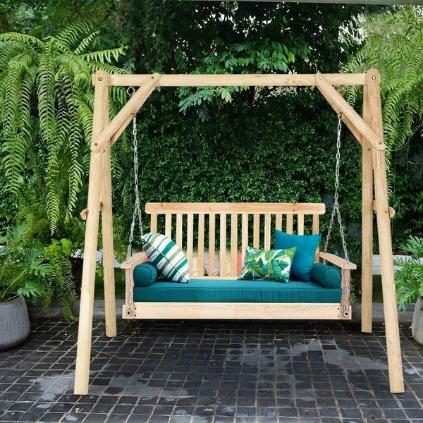 4 Ft Porch Swing Natural Wood Garden, Outdoor Swing Bench With Stand