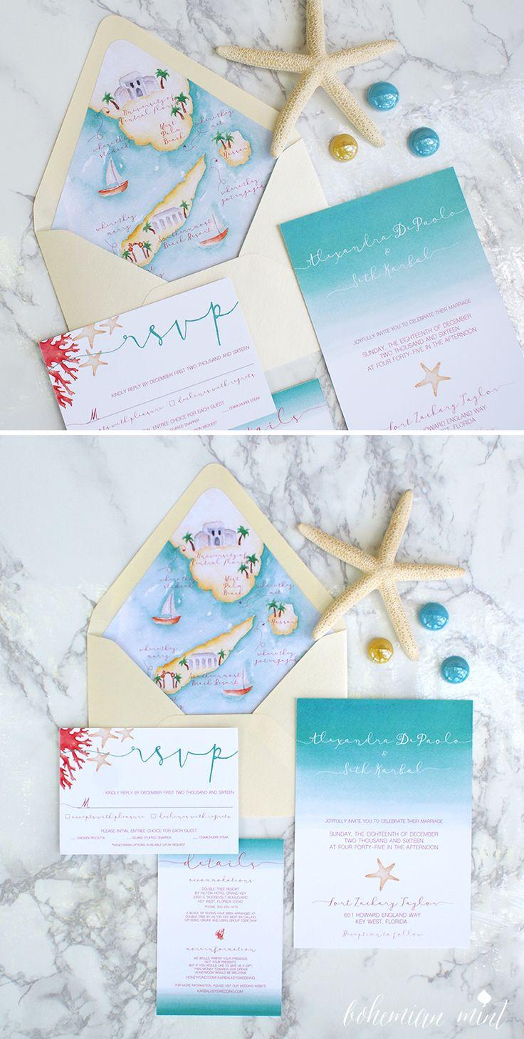 Beach wedding invitation with custom wedding map envelope liner | Bohemian Mint watercolor wedding invitations