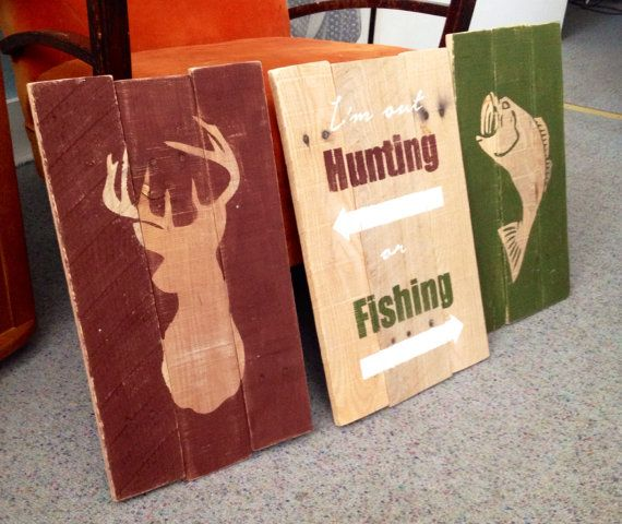 3 piece set  HUNTING and FISHING  reclaimed by StudioBKdesigns, $75.00