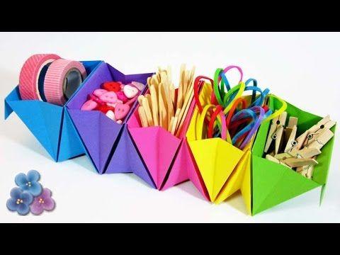 Origami: Organizador de Escritorio FACIL Como Hacer Origami Modular Tuto...