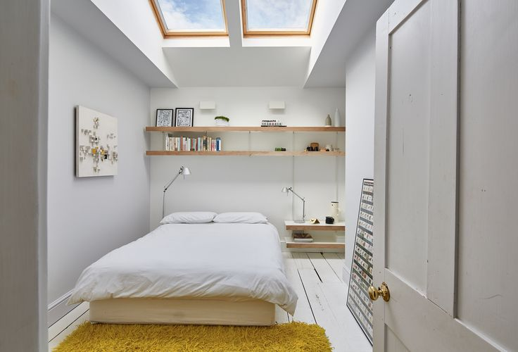 Our oak shelving system has been used to make more space at high level  but also used to make a bed side table as part of the same system. Bedroom shelving, just part of our shelving system.