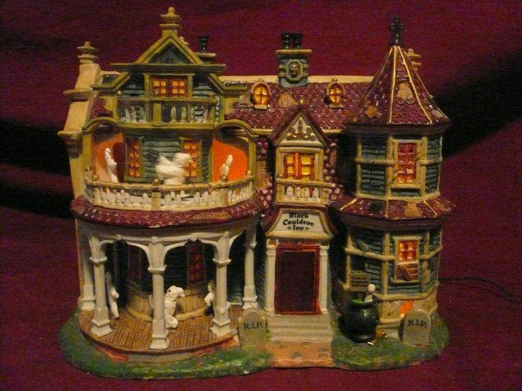 lemax spooky town black cauldron inn halloween village displayhalloween townhaunted housesfairy housesdepartment 56holiday decorationsminiature - Halloween Houses Decorated