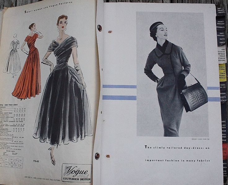 Vogue Patterns catalog, November 1953 featuring Vogue 772 (left) and S-4422 (right)