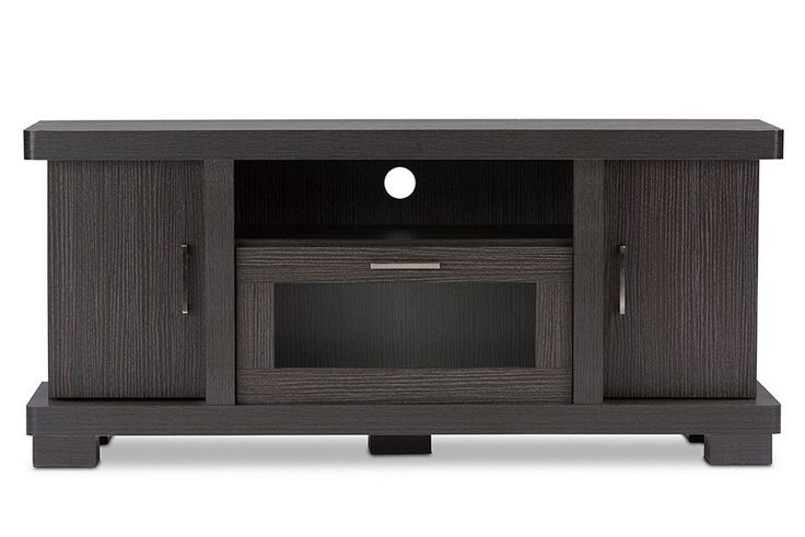 Viveka 47-Inch Dark Brown Wood TV Cabinet 2 Doors