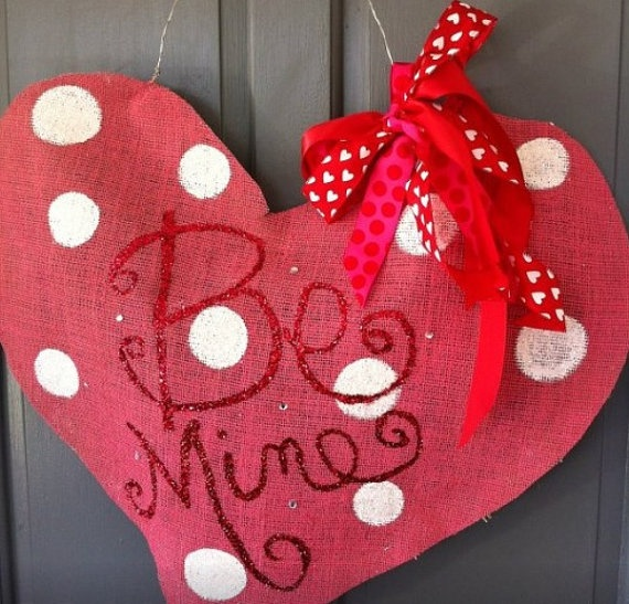 Valentines Day Burlap Door HangerLooks precious by JenIsSoCrafty, $45.00