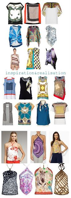 all kind tops, halters, t-shirt with silk scarves
