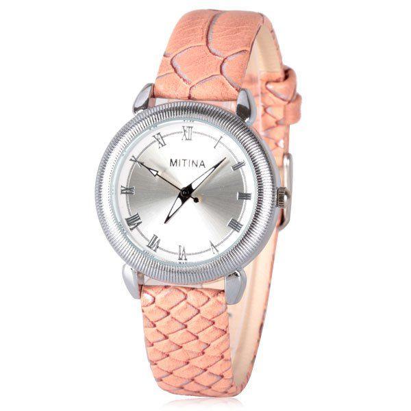 Hermoso reloj plateado con correas rosadas simulación piel de serpiente. VENDIDO