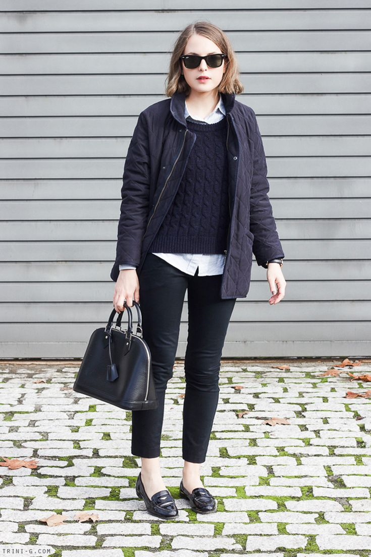 Trini | Barbour navy jacket Sandro sweater J Crew shirt Topshop pants Miu Miu loafers Louis Vuitton alma bag