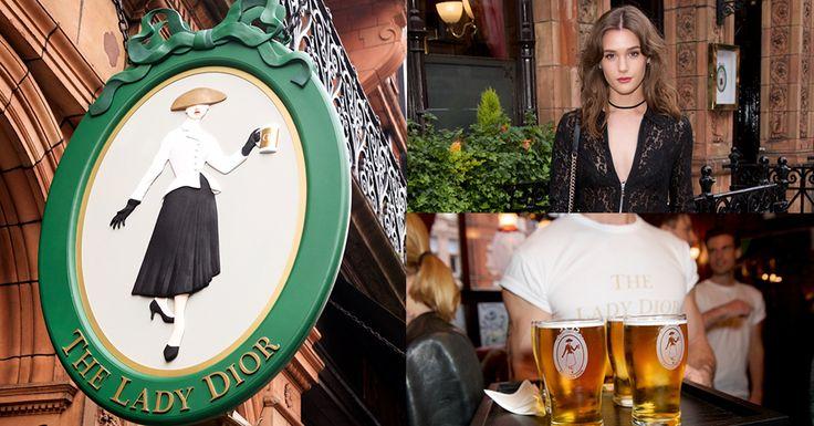 海外スナップディオールがロンドンでショーの前夜祭を開催会場はビールを持ったニュールックが目印の高級パブ