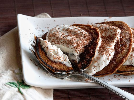 Coffee-chocolate pancakes with mascarpone cream, and a touch of coffee liqueur. Not too sweet, and utterly decadent. It's dessert for breakfast. Or breakfast for dessert.