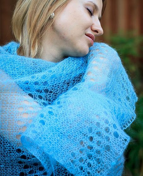 Free Knitting Pattern for One Skein Evelyne Shawl - Easy but stunning stole that alternates a 4 row repeat lace pattern with stockinette. Designed by Denise Twum.16″ x 48″. Pictured project used one skein of 230 yards of lace yarn.
