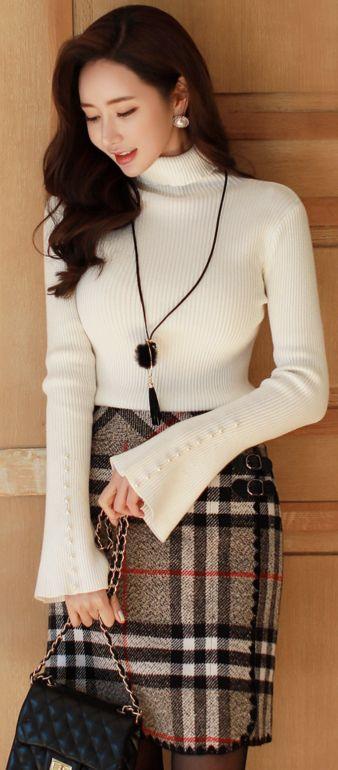 StyleOnme_Check Print Double Strap Wool Blend Skirt #check #wool #skirt #koreanfashion #kstyle #kfashion #wintertrend #seoul
