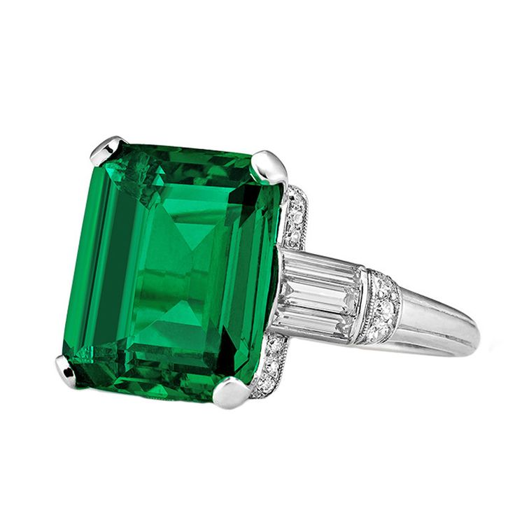 Important Art Deco Columbian Cushion Cut Natural Emerald Ring | From a unique collection of vintage cocktail rings at http://www.1stdibs.com/jewelry/rings/cocktail-rings/