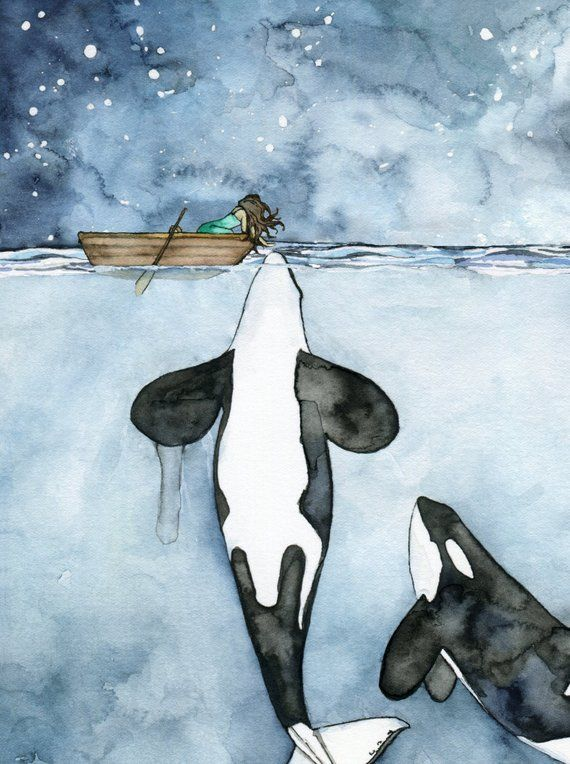 """XLARGE Watercolor Orca Painting – Sizes 16×20 and up, """"Poseidon's Touch"""", Whale Nursery, Whale Art, Whale Print, Orca Whale, Beach Decor"""