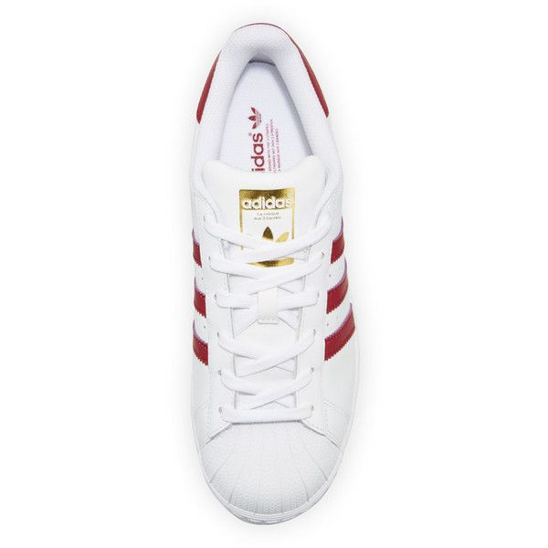 Adidas Superstar Original Fashion Sneaker, White/Burgundy ($87) ❤ liked on Polyvore featuring shoes, sneakers, white sneakers, white shoes, burgundy shoes, adidas trainers and white colour shoes