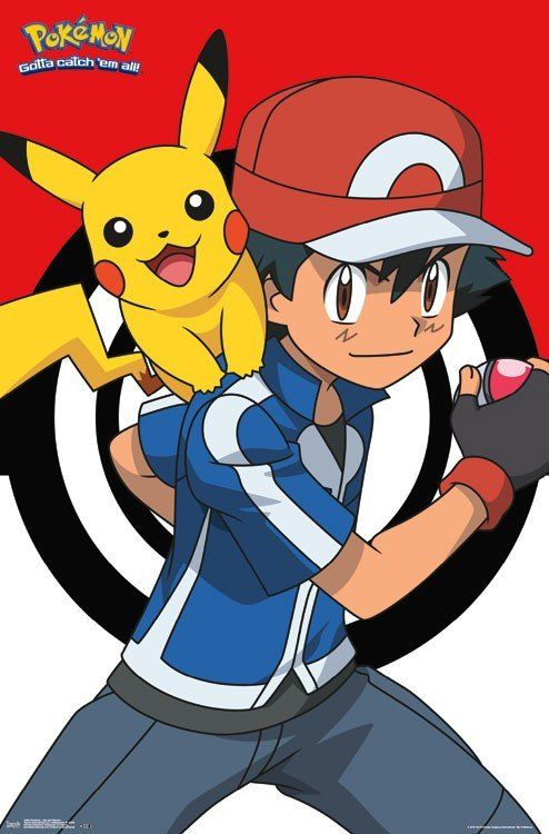Pokemon Wall Poster - Pikachu and Ash - Great pokemon party decoration