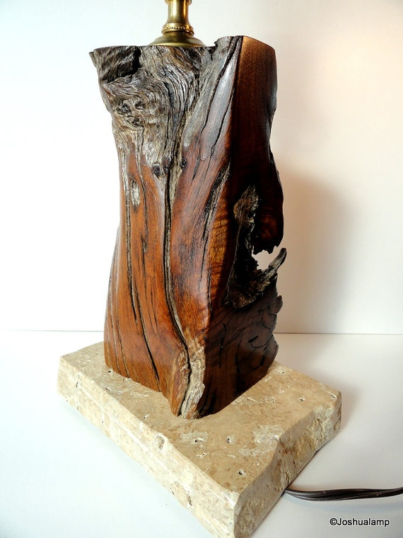 Raw Edge Mesquite Modern Table Lamp On Granite By