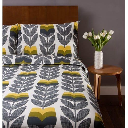 Orla Kiely House Scribble Rosebud Corn Yellow Duvet Cover - Double