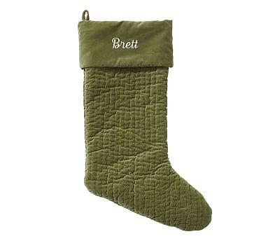 Channel Quilted Velvet Stocking - Green #potterybarn