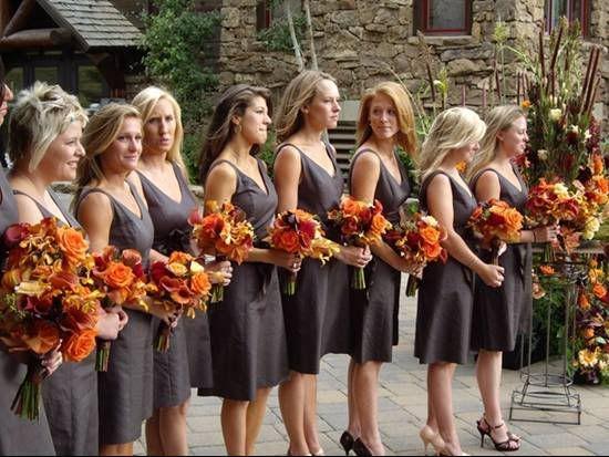 grey dresses + orange flowers. - my favorite color!!!