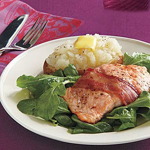 Bacon wrapped salmon. Made this last night - deelish. We made sandwiches on whole wheat bread.