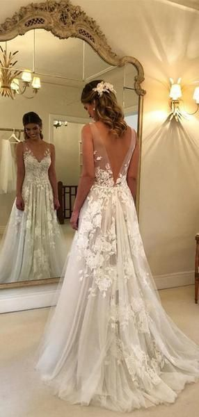 Lace Applique Ivory Beach Wedding Dresses V Neck Backless Wedding Dresses, TYP1244