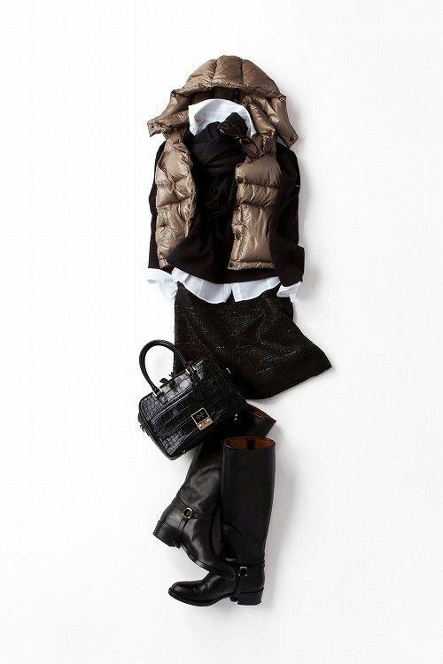 Black/bronze brown puffer vest