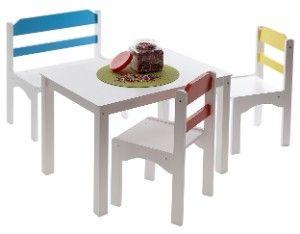 Enfants ensemble de meubles, 4 pièces. (Table, banc, 2 chaises), Coloré