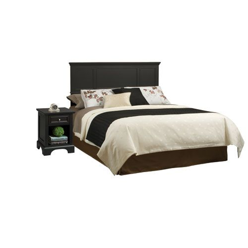 Bedford Black Queen Headboard and Night Stand