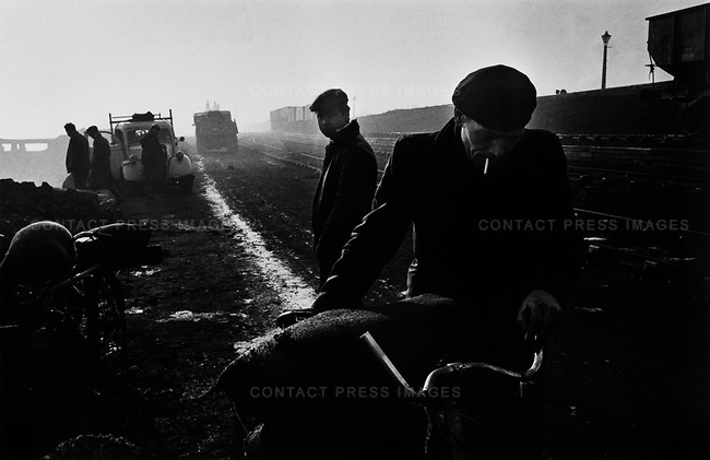 Unemployed men collect coal from the shore, West Hartlepool, County Durham, UK, 1963