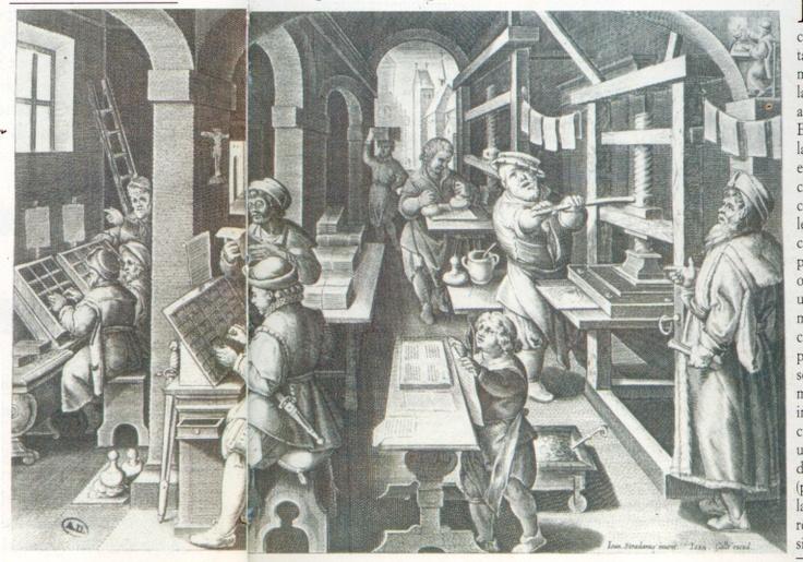 Ilustración taller de imprenta. Siglo XVII