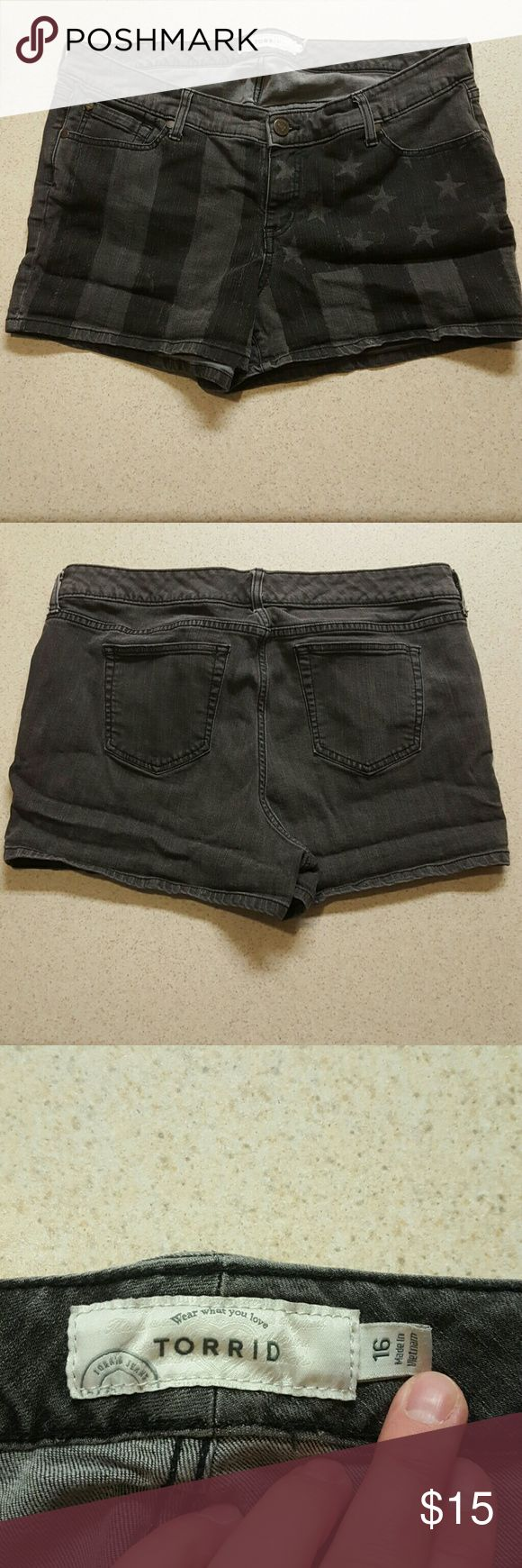 Black American Flag Shorts Torrid Size 16 Black American Flag Shorts Torrid Size 16 They are a black faded color with darker black American Flag stripes and stars as seen in picture torrid Shorts