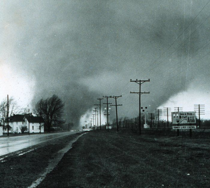 April 11, 1965 Elkhart IN, famous twin tornadoes - a high school teacher on mine told us about this famous storm and his part in it during my freshmen class.  Very interesting, but sad.